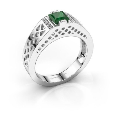 Foto van Heren ring Jonathan 375 witgoud smaragd 5 mm