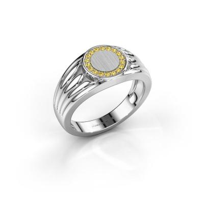 Pinky Ring Jacobus 585 Weißgold Gelb Saphir 1.2 mm