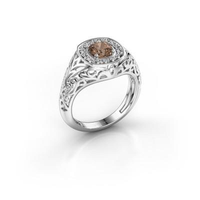 Foto van Heren ring Quinten 375 witgoud bruine diamant 0.66 crt