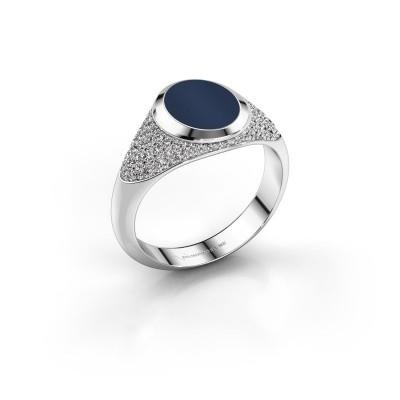 Foto van Pinkring Giovani 925 zilver donker blauw lagensteen 10x8 mm