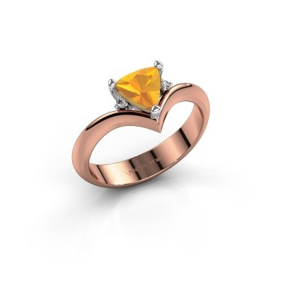 Ring Arlette 585 rosé goud citrien 7 mm