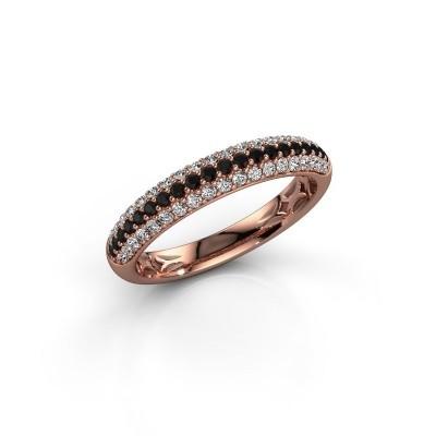 Foto van Ring Emely 2 375 rosé goud zwarte diamant 0.597 crt