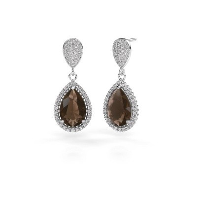 Picture of Drop earrings Cheree 2 585 white gold smokey quartz 12x8 mm