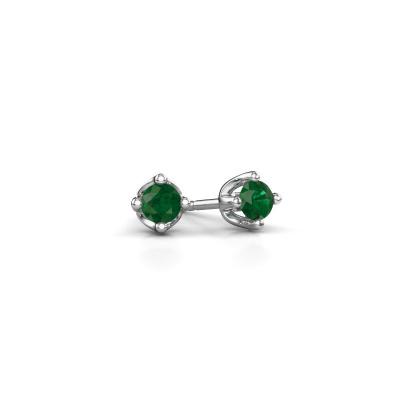 Foto van Oorknopjes Briana 585 witgoud smaragd 3.7 mm