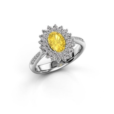 Engagement ring Alina 2 925 silver yellow sapphire 7x5 mm