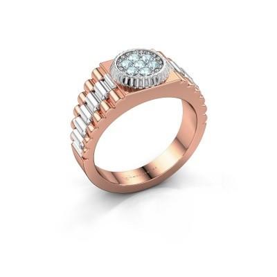Foto van Heren ring Nout 585 rosé goud aquamarijn 2 mm