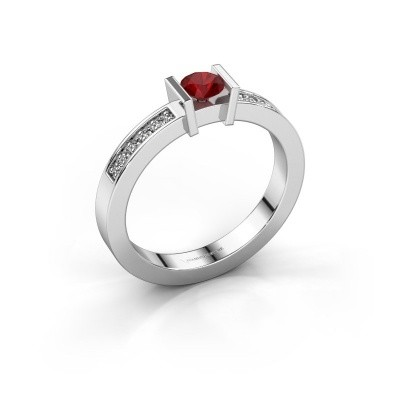 Engagement ring Maryam 585 white gold ruby 4 mm