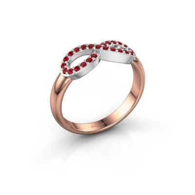 Foto van Ring Infinity 2 585 rosé goud robijn 1.2 mm