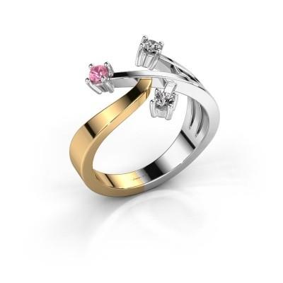 Ring Lillian 585 goud roze saffier 2.5 mm