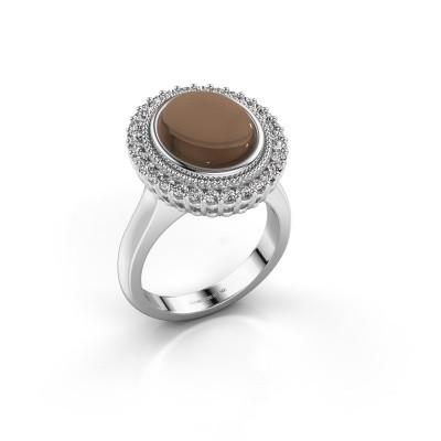 Foto van Ring Mila 925 zilver rookkwarts 12x10 mm