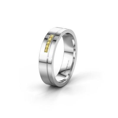 Trouwring WH0307L15AP 925 zilver gele saffier ±5x1.7 mm