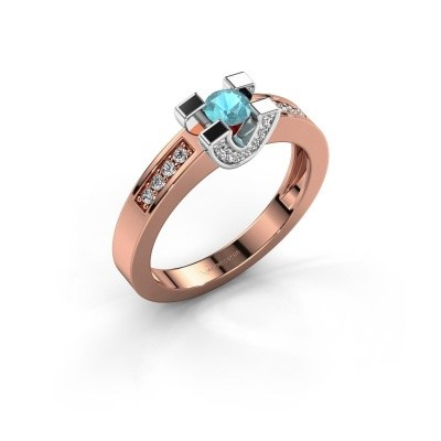 Verlovingsring Jasmijn 2 585 rosé goud blauw topaas 4 mm