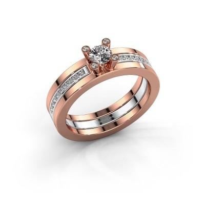 Foto van Ring Alisha 585 rosé goud diamant 0.36 crt