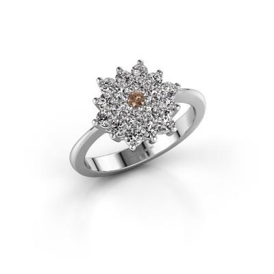 Foto van Verlovingsring Vickey 2 950 platina bruine diamant 0.045 crt