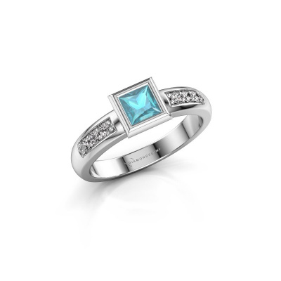 Stacking ring Lieke Square 925 silver blue topaz 4 mm