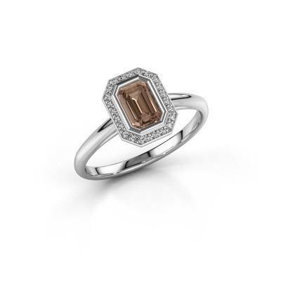 Verlovingsring Noud 1 EME 585 witgoud bruine diamant 0.76 crt