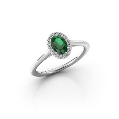 Picture of Engagement ring Seline ovl 1 585 white gold emerald 6x4 mm