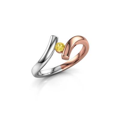 Foto van Ring Amy 585 rosé goud gele saffier 3 mm
