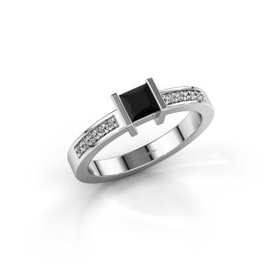 Foto van Aanzoeksring Jordan 925 zilver zwarte diamant 0.48 crt