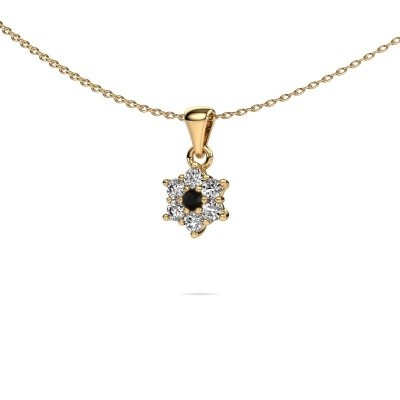 Ketting Chantal 375 goud zwarte diamant 0.396 crt
