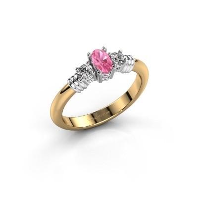 Foto van Promise ring Pippa 585 goud roze saffier 5x4 mm