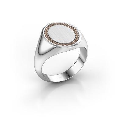 Men's ring Floris Oval 4 375 white gold brown diamond 0.233 crt