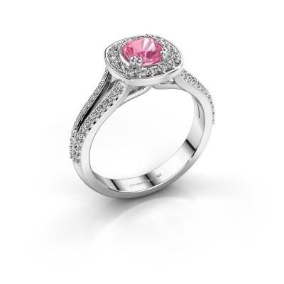 Engagement ring Carolina 2 585 white gold pink sapphire 5 mm