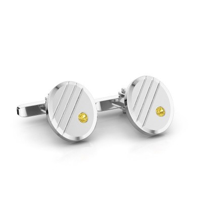 Cufflinks Wesley 585 white gold yellow sapphire 2.7 mm