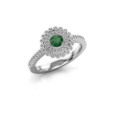 Verlovingsring Shanelle 585 witgoud smaragd 4 mm