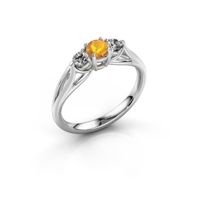 Photo de Bague de fiançailles Amie RND 585 or blanc citrine 4.2 mm