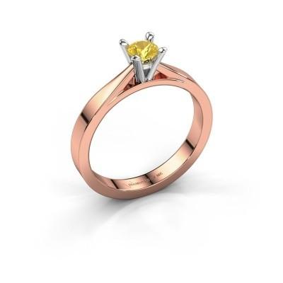 Foto van Aanzoeksring Catrina 585 rosé goud gele saffier 4 mm