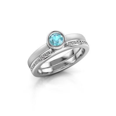 Picture of Ring Cara 950 platinum blue topaz 4 mm