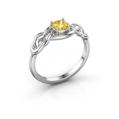 Foto van Ring Zoe 585 witgoud gele saffier 5 mm