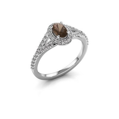 Belofte ring Pamela OVL 950 platina rookkwarts 7x5 mm