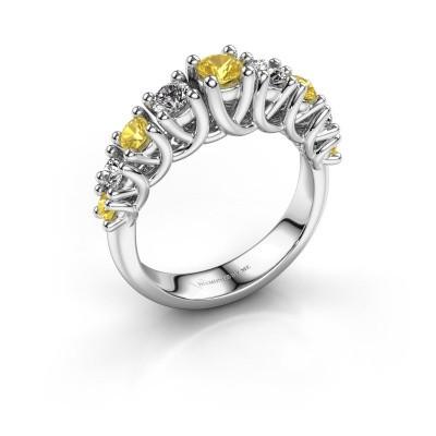 Engagement ring Fatima 950 platinum yellow sapphire 3.7 mm