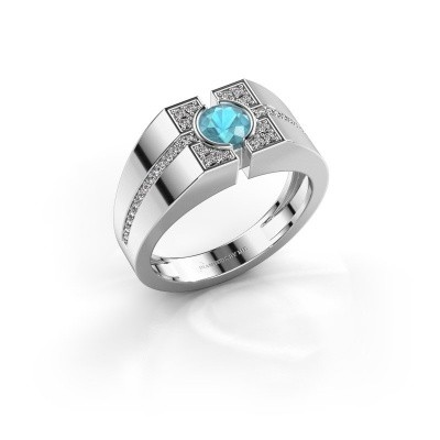 Picture of Men's ring Thijmen 375 white gold blue topaz 5 mm