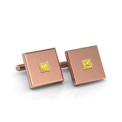 Foto van Manchetknopen Givanti 750 rosé goud gele saffier 4 mm