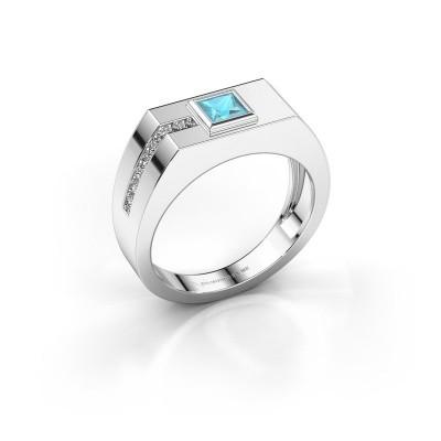 Foto van Heren ring Robertus 1 375 witgoud blauw topaas 4 mm