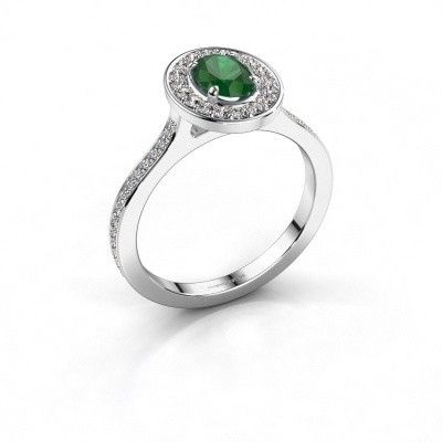 Ring Madelon 2 925 zilver smaragd 7x5 mm