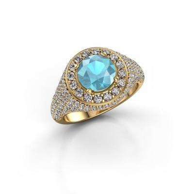 Foto van Ring Dayle 375 goud blauw topaas 7 mm