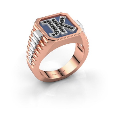 Picture of Signet ring Mike 585 rose gold black diamond 0.006 crt