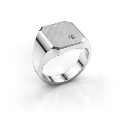 Foto van Zegelring Patrick 3 585 witgoud diamant 0.03 crt