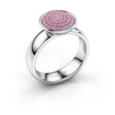Ring Tilda 585 witgoud roze saffier 1 mm