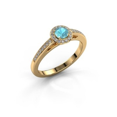 Engagement ring Aaf 375 gold blue topaz 4.2 mm