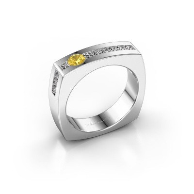 Foto van Mannen ring Arend 585 witgoud gele saffier 3.8 mm