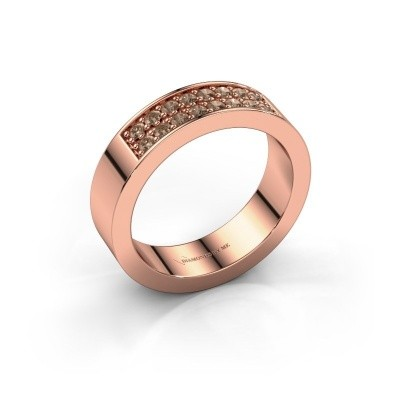 Stackable ring Catharina 5 375 rose gold brown diamond 0.32 crt