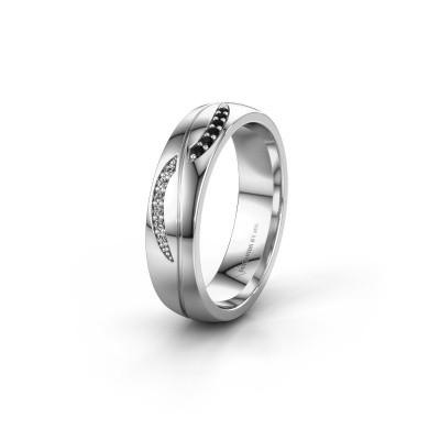 Trouwring WH2118L25A 925 zilver zwarte diamant ±5x1.7 mm