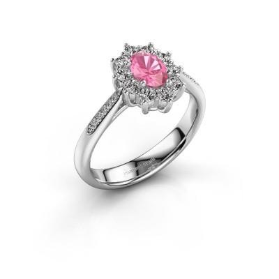 Foto van Verlovingsring Leesa 2 950 platina roze saffier 6x4 mm