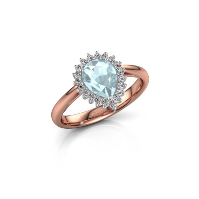 Picture of Engagement ring Tilly per 1 585 rose gold aquamarine 8x6 mm
