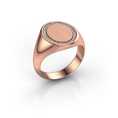 Men's ring Floris Oval 4 375 rose gold zirconia 1.2 mm